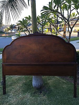 1950's Antique Mahogany FULL HEADBOARD with Ornate Crown *beautiful