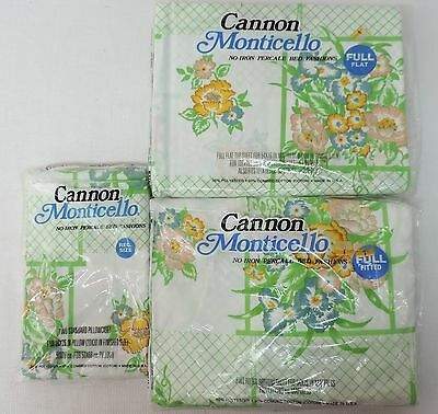 NEW! NOS Vintage Cannon Monticello Full Bed Flat & Fitted Sheet Set  Floral