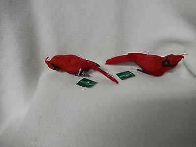 Christmas Set Of Two Cardinal Feather Birds W/smooth Chest Ornaments-New