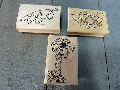 DOTS Wood Mounted Foam Backed Rubber Stamps Mixed Lot of 3 Leaf  Palm Daisy