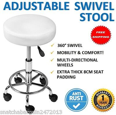 NEW PU Swivel Round Gas Lift Stool White Hairdresser Medical Clinic Salon Chair