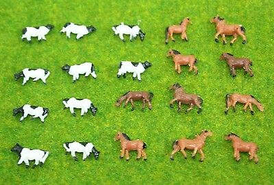 lot 20 pcs N scale animals figures 1:160 for Model train layout ( Cow  Horse )