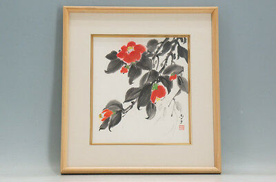 Japanese painting By NAOKO Camellia Framed 387e06