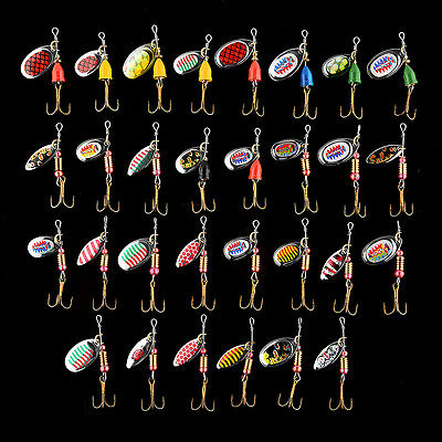 30x Assorted Metal Spoon Spinner Fishing Lures Bait Crankbait Hooks Tackle Tool