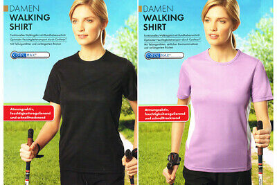 Damen Walking Shirt Funktions Sport Fitness  T-Shirt Kurzarm COOLMAX® S M L NEU