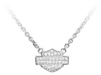 Harley-Davidson Women's Necklace, Bling Bar & Shield Logo Charm, Silver HDN0148