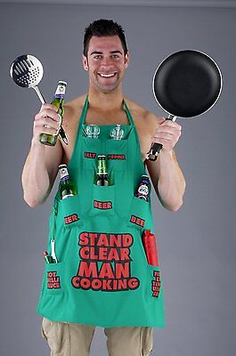 Stand Clear Man Cooking Barbecue Funny Novelty Apron