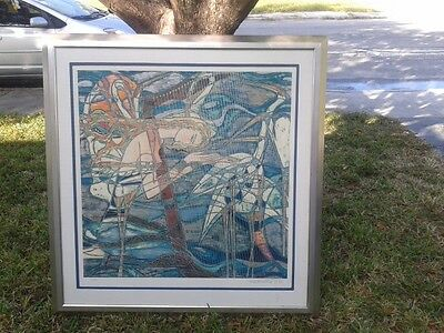Very Large Ting Shao Kuang Signed and Numbered (HARMONY) Woman Playing A Harp