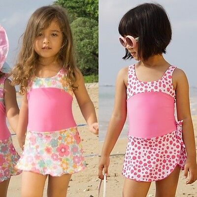 Girls Pink Swimwear Junior Skirted Bathing Suit One Piece Swimsuit Bathers Skirt