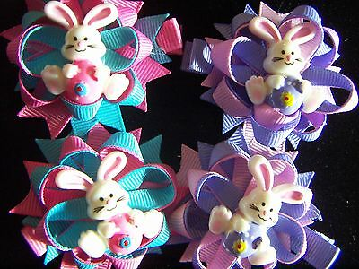 Easter Bunny Rabbit Spring Flower Layered Hair Bow Clips 2 pcs. Alligator Clips