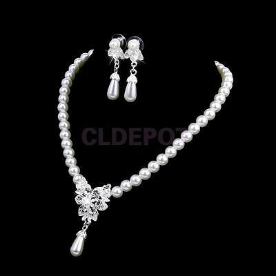 Vintage Wedding Party Jewelry Rhinestone Faux Pearl Necklace Earrings Set