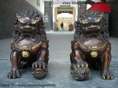 Chinese Pure Bronze Avoid evil Guardian Door BeiJing Palace Fu Foo Dog Lion Pair