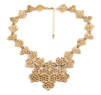 Gorgeous Big Golden Hollow Pattern Bib Collar Necklace High Quality Beautiful