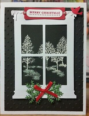 CHRISTMAS CARD STAMPIN'UP LOVELY AS A TREE MEMORY BOX WINDOW
