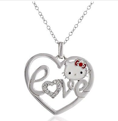 Hello Kitty Sterling Silver Crystal/Red Enamel Bow Love Heart Pendant Necklace