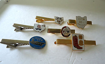 VINTAGE GOLD SILVER TONE VFW VETERANS OF FOREIGN WARS TIE CLIPS LOT BARLOW
