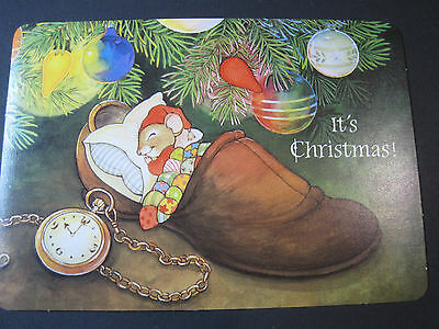 Unused Christmas Postcard Cute Mouse in Slipper Under Tree with Timepiece