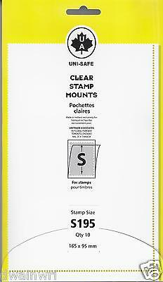 """Uni-Safe """"S"""" Top-Open #165x95mm Stamp Mounts (Made in Germany) 10 Clear strips"""