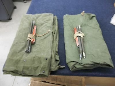 2 MILITARY HALF SHELTER TENT FIELD ARMY 2-MAN SURPLUS POLES STEAKS NO TEARS USED