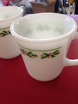 4 Corning Holly Days Christmas Holiday Cup D Handle Vintage Usa Corelle