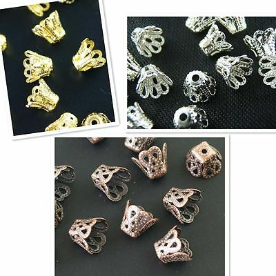New Arrive Selling Flower End Bead Caps Charms 7mm,8mm Gold,Silver,Bronze
