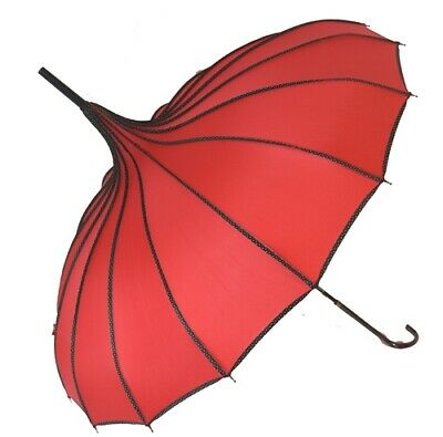 Blooming Brollies Boutique Polka Dot Ribbed Pagoda Stick Umbrella - Red