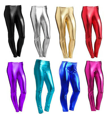 Girls Metallic Leggings Wet Look Foil Shiny Kids Children  4-13 Yrs Disco Party