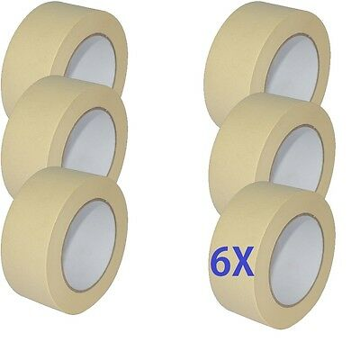 "6X roll MASKING Tape 50mm 2"" x 50m STRONG painting decoratorts art kraft painter"
