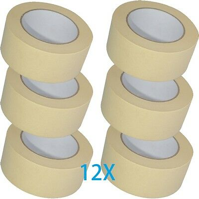 12 X LOW TACK MASKING TAPE 50MM X 50M PAINT PAINTING MASK DECORATE Multi Surface