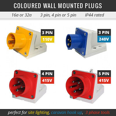 All Coloured Wall Mounted Plugs 16A Or 32A 110V-415V Used For Caravans, 3 Phase