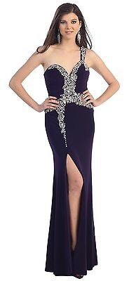 Plus Size Prom Floor Length One Shoulder Straps Hand Beaded Sequins Formal Gown