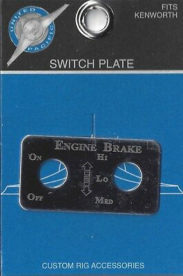 switch plate engine brake hi low med stainless etched block letter for Kenworth