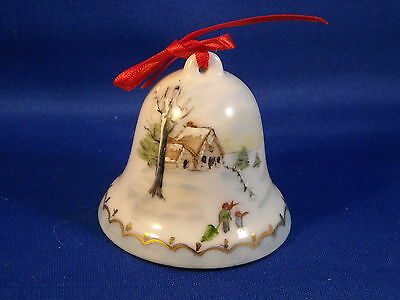 VINTAGE HAND PAINTED  CHINA  - SIGNED  CHRISTMAS BELL  1986