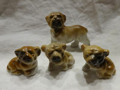 Vintage Lot of 4 Miniature BULLDOG Dog FIGURINES Porcelain Made in JAPAN Grumpy