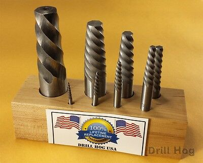 Drill Hog USA Spiral Easy Outs Set Round Screw Extractor Lifetime Warranty 8 Pc