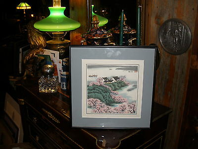 Asian signed silkscreen painting:harbor/boats/cherry blossoms/cliffs/forest-nice