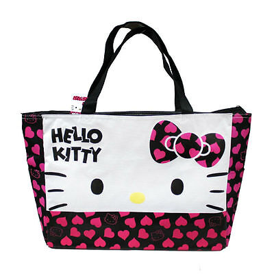 Sanrio Hello Kitty Large Tote Hand Bag Shoulder Bag W/Heart Design - Black Bow