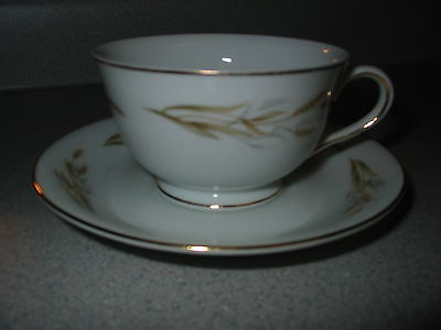 Kyoto Fine China Set  Cup & Saucer Gold Wheat 8046 Vintage