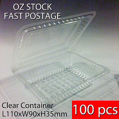 100 pcs x BNIB Sushi Food Party Take Away Disposable Container Clear Plastic