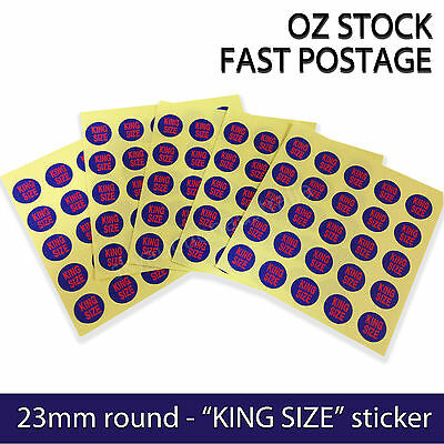 "Garment Label Clothing Round stickers Self-Adhesive - ""King Size"" - 200pcs"