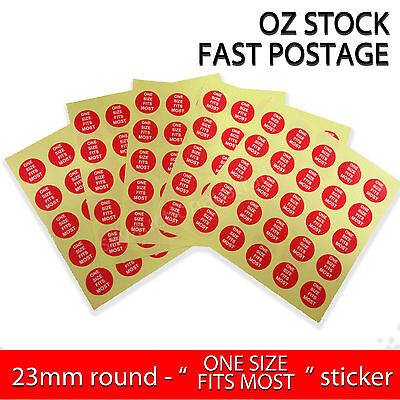 "Garment Label Clothing Round Stickers Adhesive - ""One Size Fits Most"" - 200pcs"