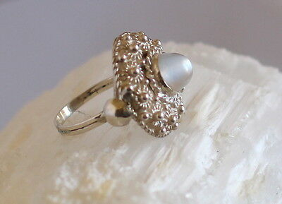 Antique Opalescent MOONSTONE RING in Cannetille Sterling Silver Setting Size 8.5