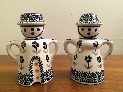 Salt and Pepper Shakers - Folk Art Hand Made Heavy Porcelain  - Adorable