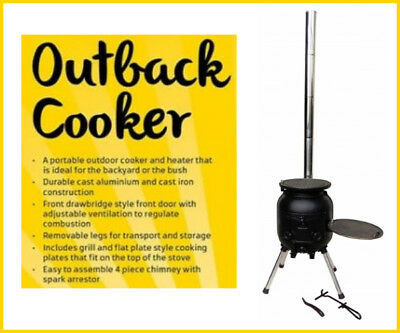 NEW OZ OUTBACK COOKER Portable Outdoor Cooking BBQ caravan camping pig SPIT