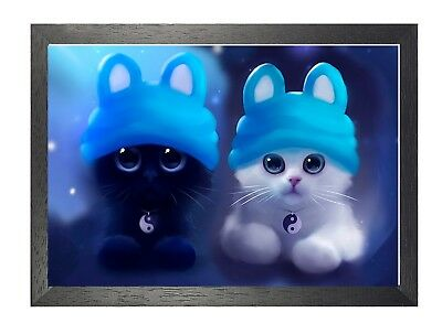 Cat 4 Kitten Cute Cats Animals Pets Sweet Lovely Adorable Cartoon Poster Picture