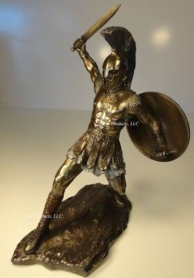 12.5 HECTOR of TROY SWORD & SHIELD GREEK MYTHOLOGY Sculpture Statue Bronze Finsh