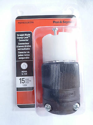 Pass & Seymour Clamp Lock Straight Blade Connector, 15 Amp, 125V  PS515CCLBCCV4