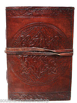 Genuine Leather 5 x 7 Inch 120 Linen Page Dream Journal with Celtic Knot