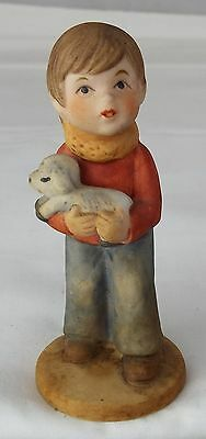 Genuine Napcoware Napco Figurine Boy w Puppy in Arms Porcelain Collectable