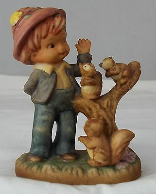 Napcoware Porcelain Figurine Boy with Squirrels on Tree Limb Napco Collectable